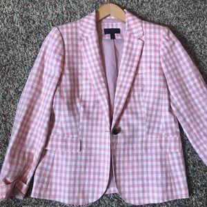 Lovely Jcrew Pink/White checked spring blazer